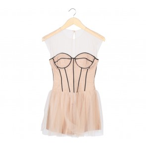 Stellarissa Cream And Black Tulle Mini Dress