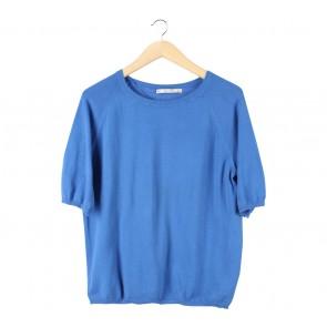Zara Blue Knit Blouse