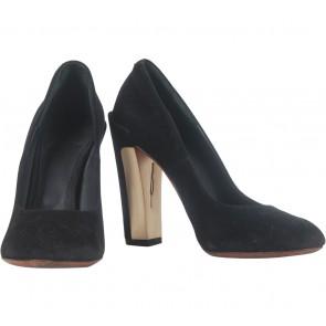 Brian Atwood Black Gold Plate Velvet Heels
