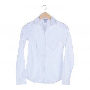 H&M White Basic Sleeve Shirt