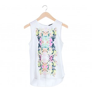H&M White Floral Sleeveless Blouse