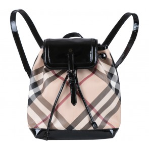 Burberry Cream Tartan Drawstring Backpack