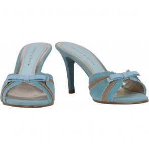 Charles and Keith Blue And Brown Ribbon Heels