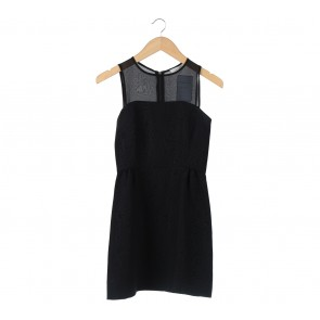 Sandro Black Sheer Sleeveless Mini Dress