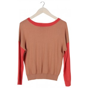 Brown and Red Knit Sweater