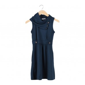 Monteau Dark Blue High Neck Mini Dress