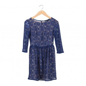 French Connection Dark Blue Lace Mini Dress