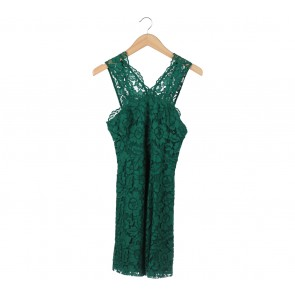 Sandro Green Brocade Sleeveless Mini Dress