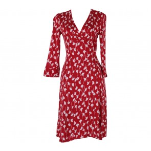 Diane Von Furstenberg Red And White Leopard Wrap Mini Dress