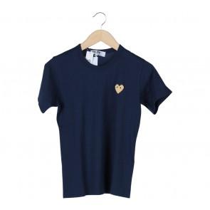 Comme des Garcons Dark Blue Gold Heart T-Shirt