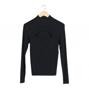 Divided Black Cut Out Sweater