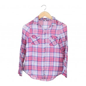 Cotton On Pink And Blue Plaid Shirt
