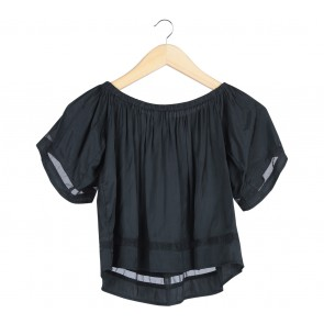 Zalora Black Bardot Cropped Blouse