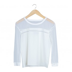 Zalora Off White Sheer Insert Blouse