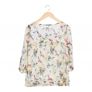 Gaudi   Yellow Bird Pattern Ruffle Blouse