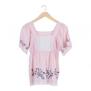 Pink Floral Lace Blouse