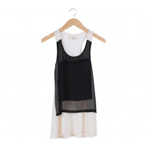 (X)SML Black And White Sleeveless Sheer Mini Dress