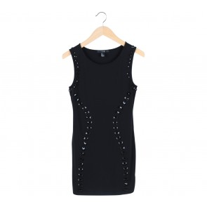 Forever 21 Black Beaded Bodycon Sleeveless Mini Dress
