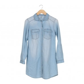 Stradivarius Blue Denim Shirt Mini Dress