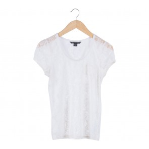 Armani Exchange White Floral Lace T-Shirt