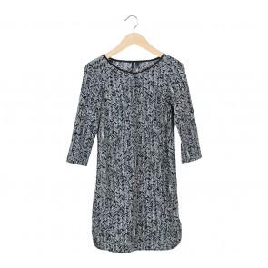 Mango Black And White Mini Dress