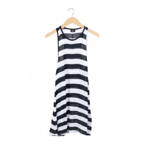 Zara Blue And White Striped Mini Dress