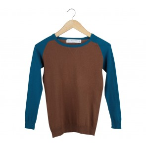 Zara Brown And Blue Sweater