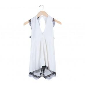Topshop White Lace Lining Sleeveless Jumpsuit