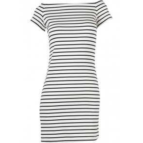 Mango White And Black Striped Mini Dress
