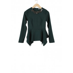 Zalia Green Beaded Blouse