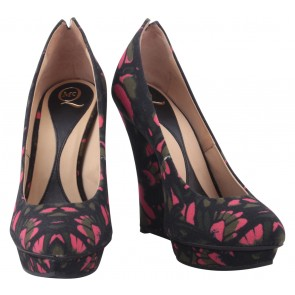 Alexander McQueen Multi Colour Floral Platform Wedges