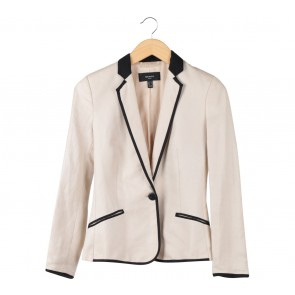 Mango Cream And Black Trim Blazer