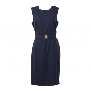 Calvin Klein Dark Blue Sleeveless Belted Midi Dress