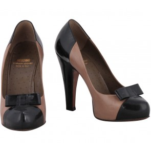 Moschino Brown And Black Ribbon Heels