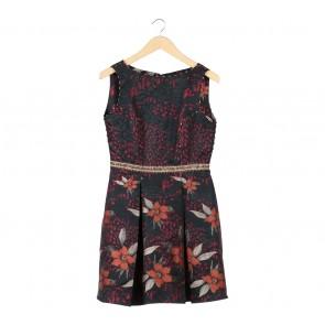 Luire By Raden Sirait Multi Colour Floral Sleeveless Beaded Midi Dress