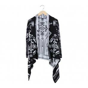 H&M Black And White Abstract Cardigan
