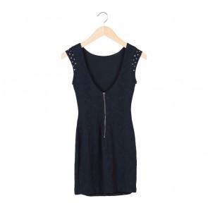 Zara Black Textured Mini Dress