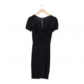 Mango Black Wrap Midi Dress