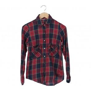 Zara Blue And Red Plaid Studded Shirt