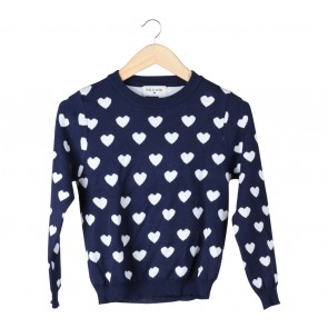 This is April Dark Blue And White Love Pattern Sweater