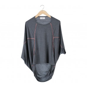 (X)SML Grey And Pink Batwing Blouse