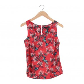 Oasis Red Floral Sleeveless Blouse