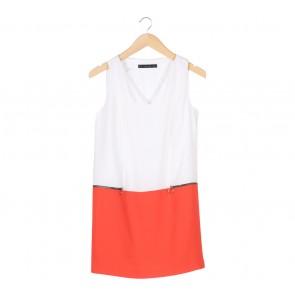Zara White And Orange Sleeveless Mini Dress