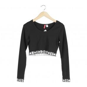 Divided Black Crop T-Shirt