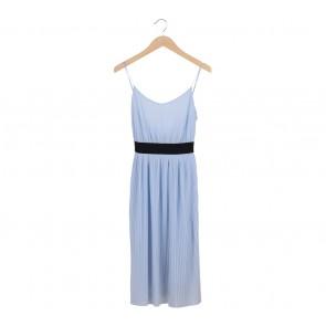 Zara Blue Pleated Sleeveless Midi Dress