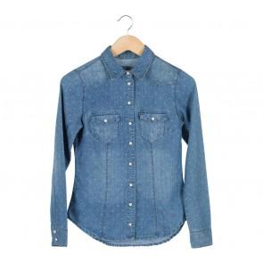 H&M Blue Polka Dot Denim Shirt
