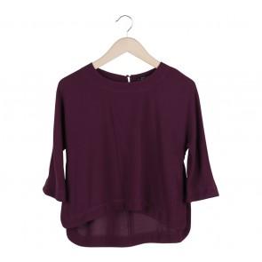 Zara Purple Asymmetric Blouse