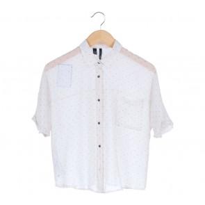 Mango White Polka Dot Shirt
