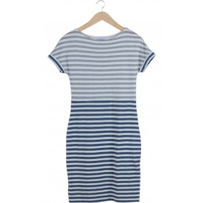 Grey and Blue Striped Midi Dress