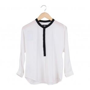 Mango White With Black Collar Blouse